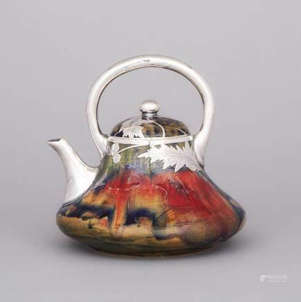 Moorcroft Silver Overlaid Claremont Teapot, c.1905, height 6.7\ — 17 cm.