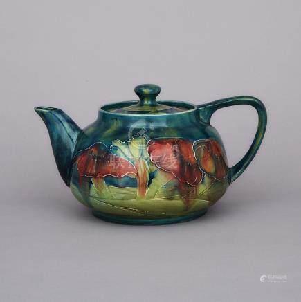 Macintyre Moorcroft Claremont Teapot, for Shreve & Co., c.1905-10, height 4.7\ — 12 cm.