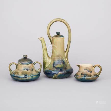 Moorcroft Hazeldene Coffee Service, c.1914-16, coffee pot height 9.8\ — 25 cm. (3 Pieces)