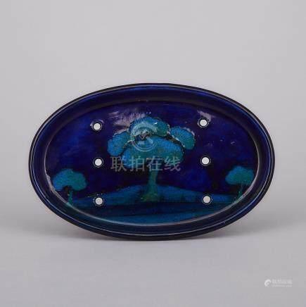 Moorcroft Moonlit Blue Oval Tray, c.1925, length 7.7\ — 19.5 cm.