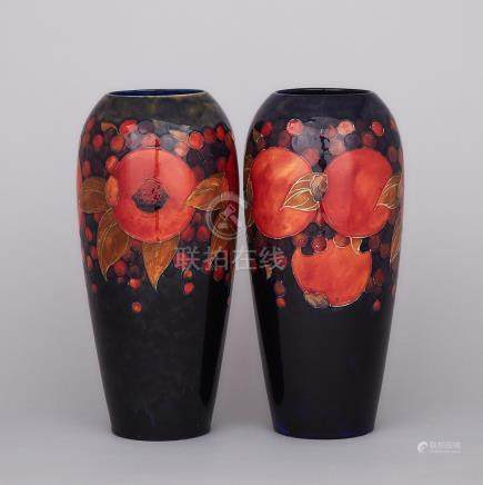 Pair of Moorcroft Pomegranate Vases, 1920s, height 12.4\ — 31.5 cm. (2 Pieces)