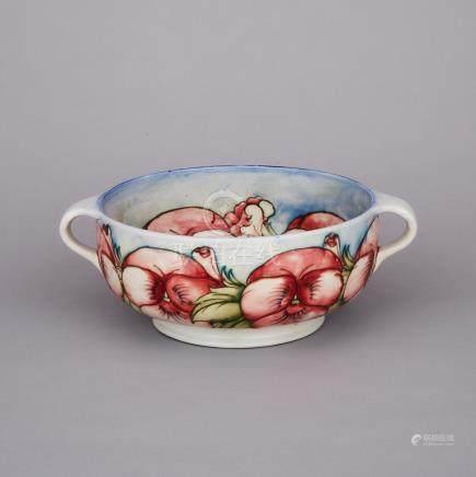 Moorcroft Two-Handled Pansy Bowl, c.1925-30, width 11\ — 28 cm.