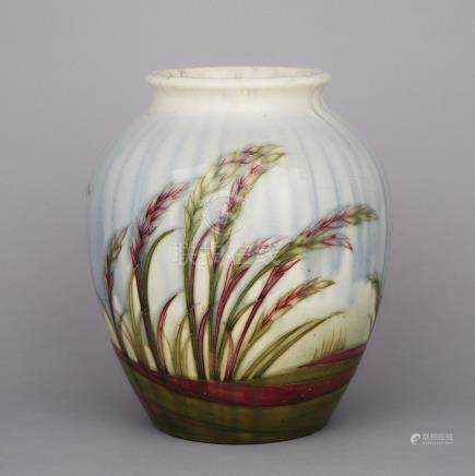 Moorcroft Waiving Corn Vase, 1930s, height 10.4\ — 26.5 cm.