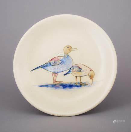 Moorcroft Ducks Plate, 1930s, diameter 10.3\ — 26.2 cm.