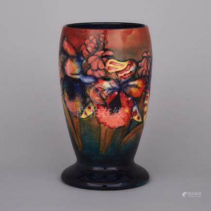 Moorcroft Flambé Orchids Vase, dated 1941, height 9.2\ — 23.3 cm.