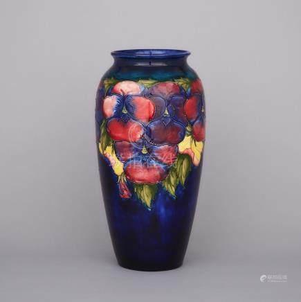 Large Moorcroft Pansy Vase, c.1945-49, height 15.6\ — 39.5 cm.