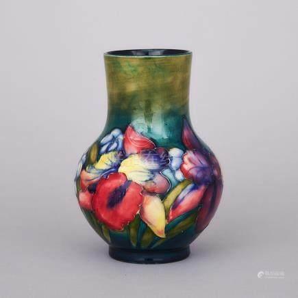 Moorcroft Orchids Vase, c.1955, height 6.8\ — 17.2 cm.