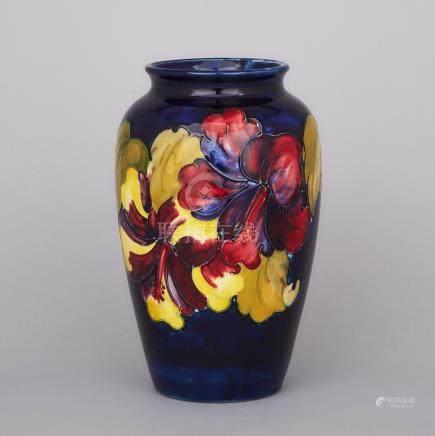 Moorcroft Hibiscus Vase, 1970s, height 8\ — 20.3 cm.