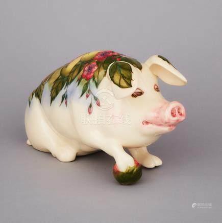 Moorcroft Model of 'Peter the Pig', 1990, length 12.2\ — 31 cm.