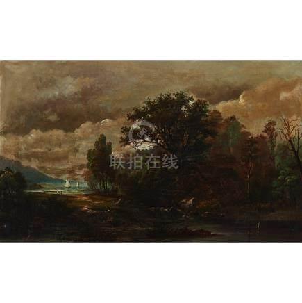 Alexander Francois Loemans (Circa 1816-1898), RIVER LANDSCAPE WITH FIGURES FISHING ON SHORE...