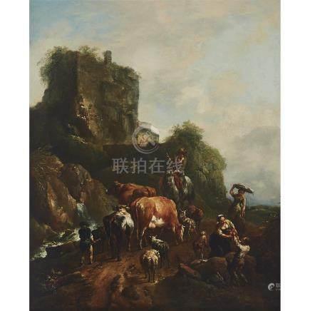 Johann Christian Brand (1722-1795), ITALIANATE LANDSCAPE WITH RUIN: A GATHERING OF HERDSMEN...