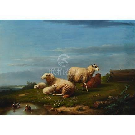 Franz van Severdonck (1809-1889), MOUTONS PAYSAGE (SHEEP IN A LANDSCAPE WITH DUCKS), 1869