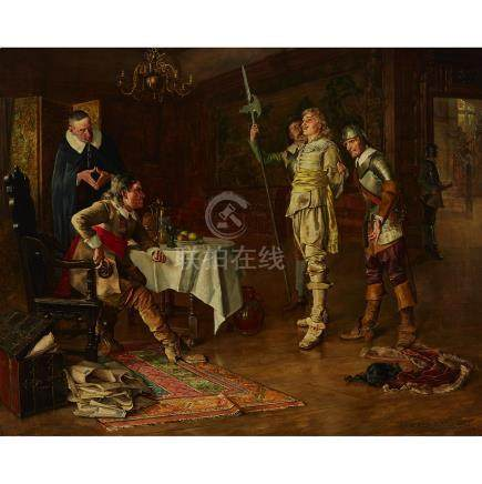 Edwin Arthur Ward (1859-1933), BAFFLED (CHARLES I AND OLIVER CROMWELL DISCUSSING IMPORTANT NEWS)