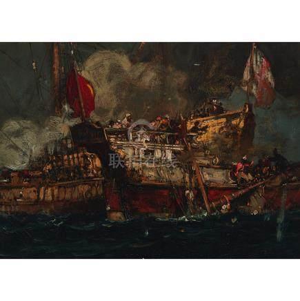 Sir Frank Brangwyn (1867-1956), TURKS BOARDING \THE DOLPHIN\, CIRCA 1899