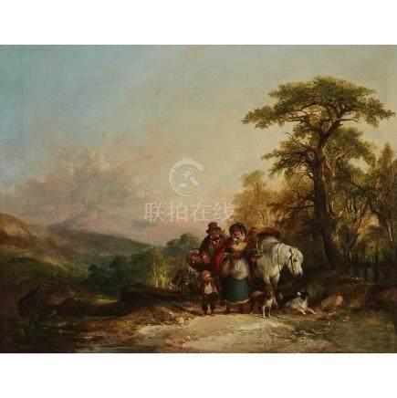 William Shayer the Elder (1787-1879), A TRAVELLING FAMILY WITH THEIR PONY AND DOGS