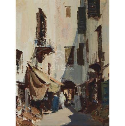 Edward Seago (1910-1974), MARKET STALLS, ESSAOUIRA-MOROCCO