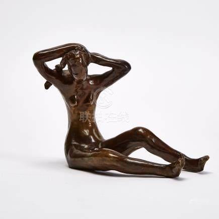 Otto Gutfreund (1889-1927), SEATED YOUNG FEMALE NUDE TYING BRAIDS, 1911