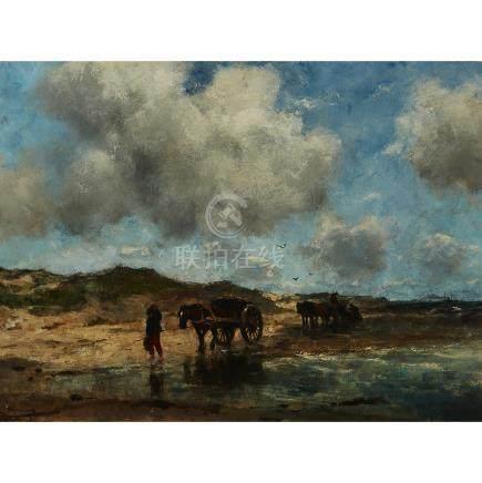 Johan Frederik Cornelis Scherrewitz (1868-1951), DRIVING HORSE DRAWN WAGONS ON A BEACH