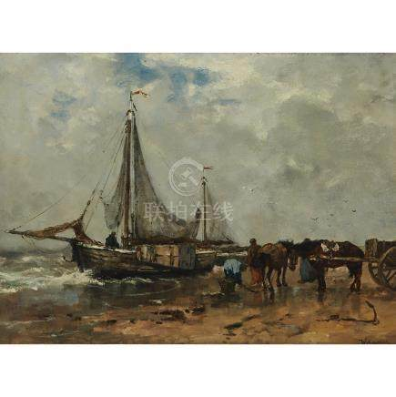 Johan Frederik Cornelis Scherrewitz (1868 - 1951), FISHER FOLK ON THE BEACH