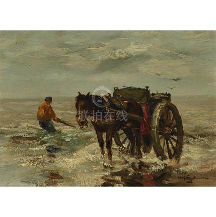 Willem George Frederik Jansen (1871-1949), SCHELPENVISSER OP HET STRAND...