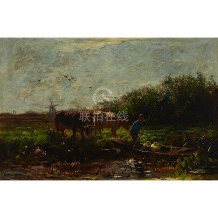 Willem Maris (1844-1910), FARMER DRIVING A BOAT THROUGH A POLDER LANDSCAPE WITH COWS