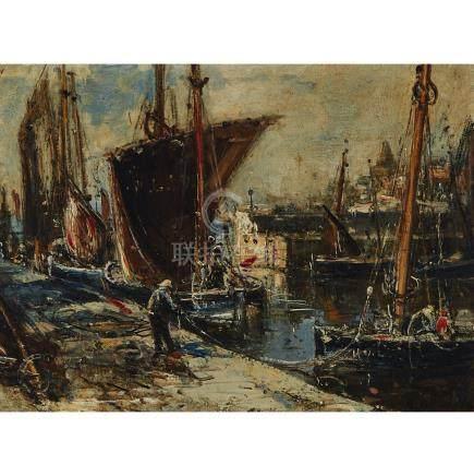 Albert Marie Lebourg (1849-1928), LE PORT DE ROTTERDAM, 1882