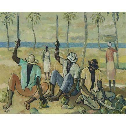 Albert Huie (1920-2010), VILLAGE MEN CUTTING COCONUTS
