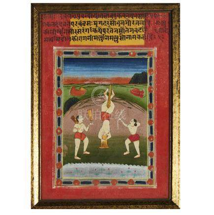 An Indian Miniature Painting of Acrobats, 18th Century