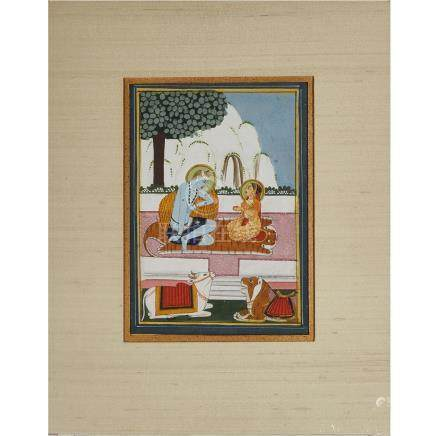 A Miniature Painting of Shiva and Parvati, North India, Circa 1800