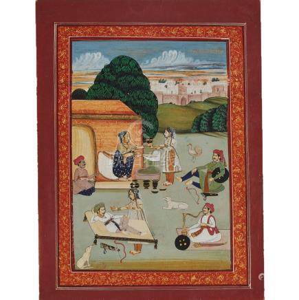 An Indian Miniature Painting of a Village Scene, 19th Century