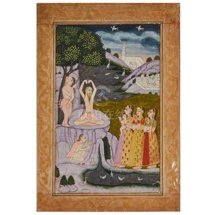 A Miniature Painting of Sadhu Holy Men, North India, Circa 1800