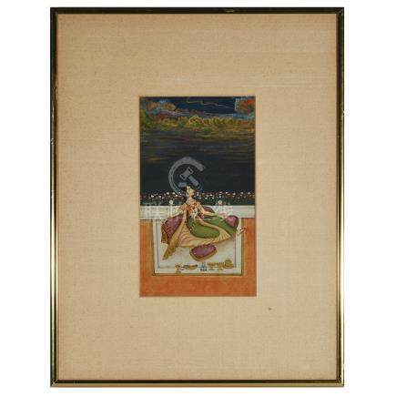 A Miniature Painting of a Princess, Mughal School, 19th Century