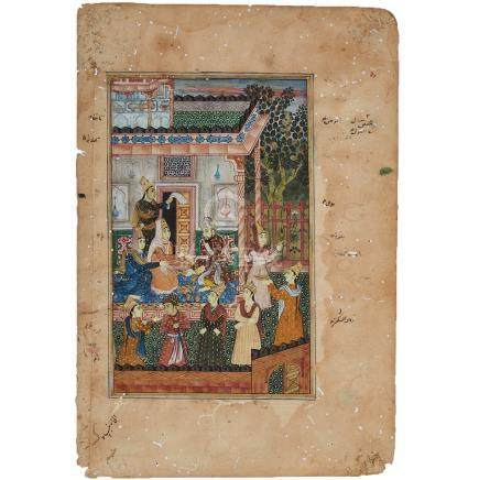 A Miniature Painting of a Courtly Scene, Mughal School, 18th Century
