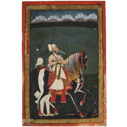 A Miniature Painting of a Prince on a Horse, Rajasthan School, 19th Century
