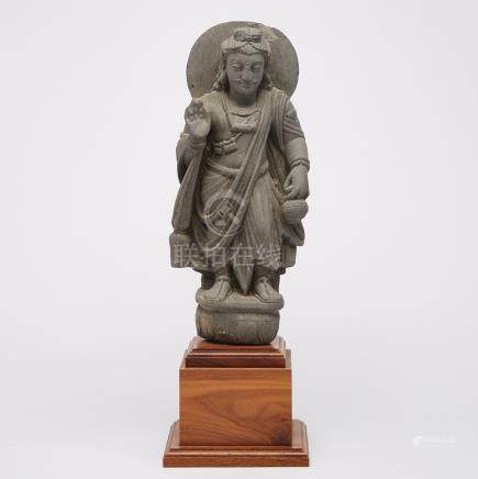 A Gandharan-Style Stone Carved Standing Buddha