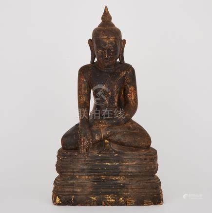 A Seated Wood Carved Buddha, Ava Period, Burma, 16th/17th century