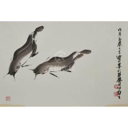 Wu Yisheng 伍彛生 (1929-2009), Two Catfish, 伍彛生 (1929-2009)