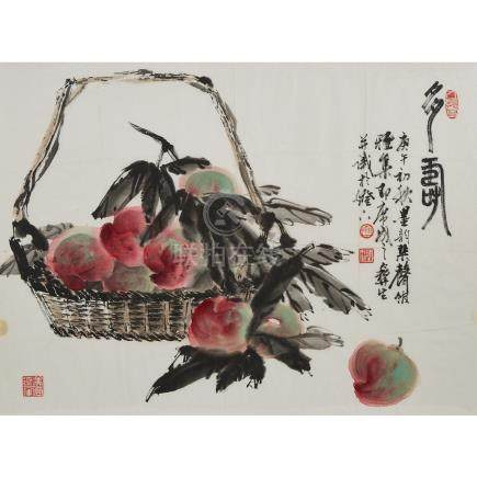 Wu Yisheng 伍彛生 (1929-2009), Peach Basket, 伍彛生 (1929-2009)