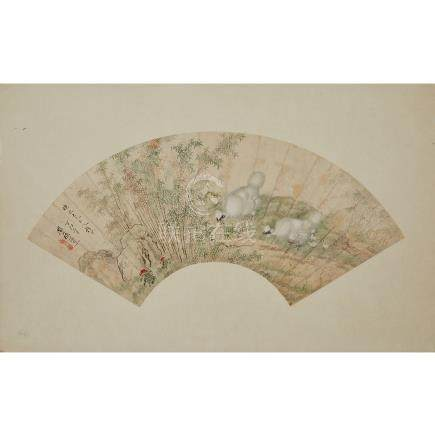 Chen Ruirong 陳瑞容, Fan Painting of Chicken and Snake
