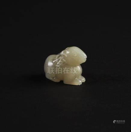 A Celadon White Jade Rabbit