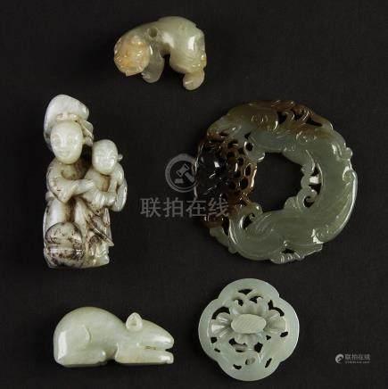 A Group of Five Celadon Jade Carvings