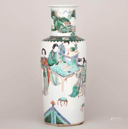 A Famille Verte Rouleau Vase, 19th Century or Earlier