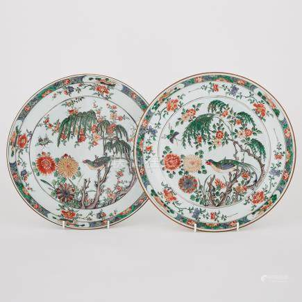 A Pair of Famille Verte 'Birds and Flowers' Plates, 19th Century