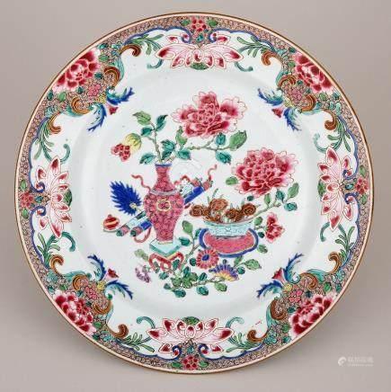 A Famille Rose 'Hundred Antiques' Pink Enamel Dish, Yongzheng Period