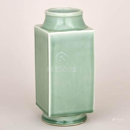 A Celadon Green Glazed 'Cong' Vase, 19th Century