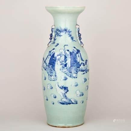 A Cobalt Blue Celadon Ground Vase, 19th Century