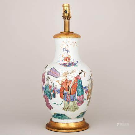 A Famille Rose 'Immortals' Vase, 19th Century