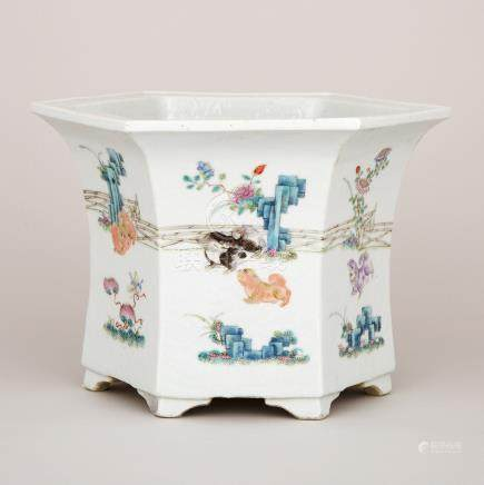 A Chinese Famille Rose Hexagonal Jardiniere, 19th Century