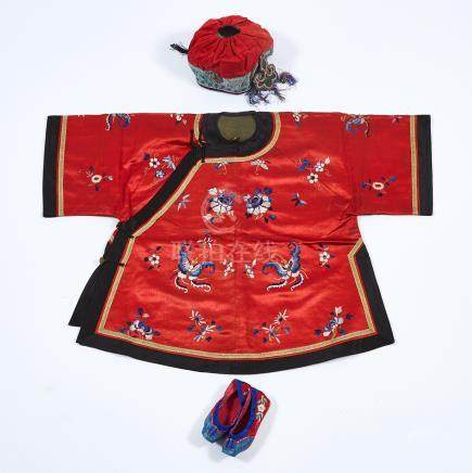 A Red Silk Embroidered Child's Coat, 19th Century