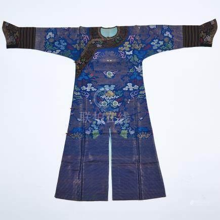 A Blue Ground Silk Embroidered Dragon Robe, 19th Century